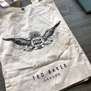Ted Baker Canvas Tote Shopping Bag, Snap Closure